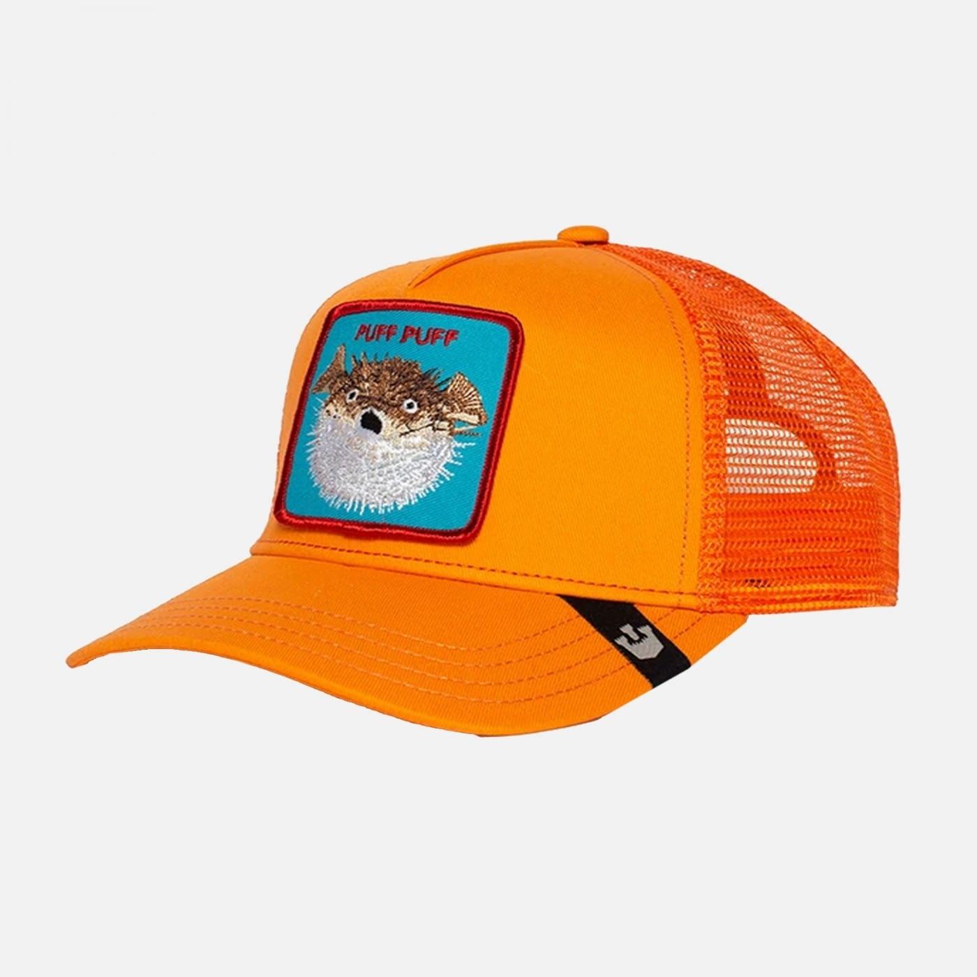 Gorra trucker naranja pez globo Puff de Goorin Bros