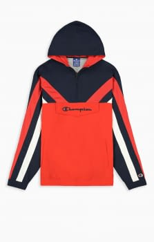 Half zip-up colour block and stripe hooded track jacket