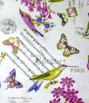 Tela Loneta Mariposas, colibrís