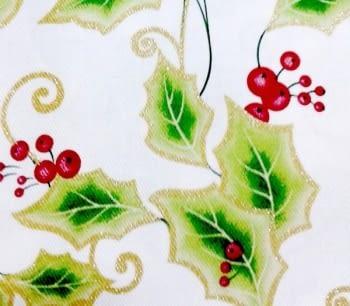 Mantelería Navidad Acebo blanca - 1