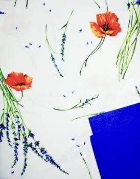 Mantelería flor naranja 150 x 220 + 8