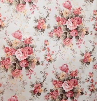 Tela loneta flores rosas 280