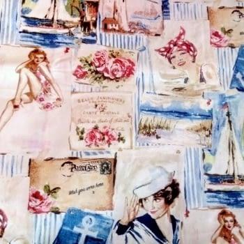 Tela Loneta Vintage Marina 280