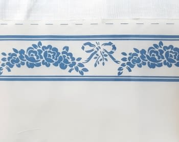 Greca tela flores azul - 1