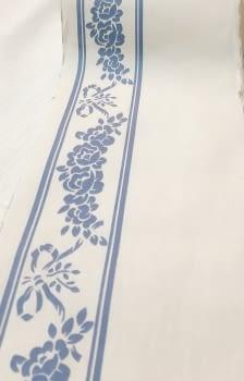 Greca tela flores azul - 2