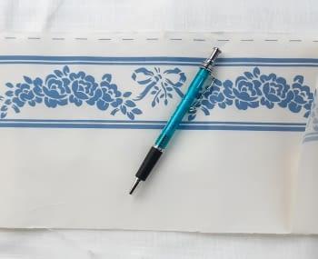 Greca tela flores azul - 3