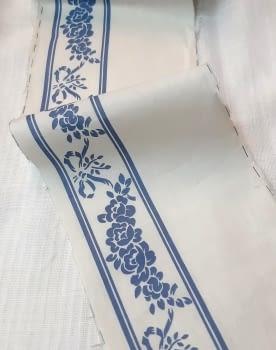 Greca tela flores azul - 4