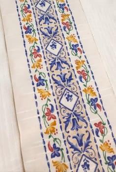 Greca tela flores azul