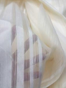 Tela Visillo rayas beige seda