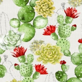 Tela de cactus y flores 280