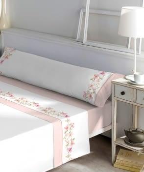 Juego de sábanas greca flor 100% algodón