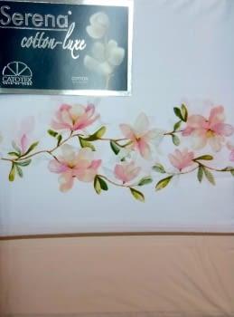 Juego de sábanas greca flor 100% algodón - 1