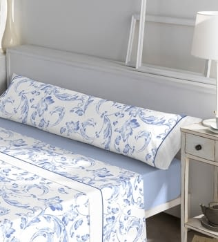 Juego de sábanas adamascado azul