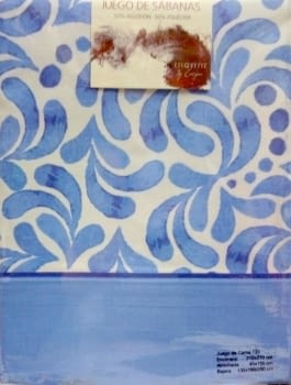 Sábanas adamascadas azul