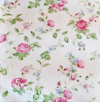 Cretona flores rosas 280
