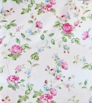 Cretona flores rosas 280 - 4