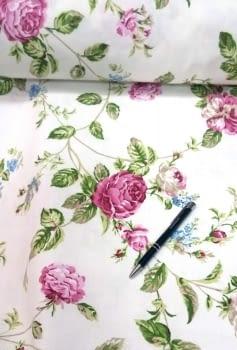 Cretona flores rosas 280 - 6