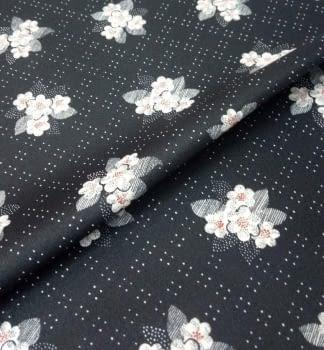 Tela crepe negra flores