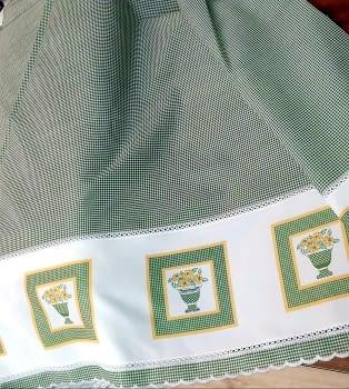 Tela bandó verde jarrones altura 65
