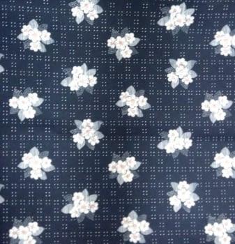 Tela crepe azul flores