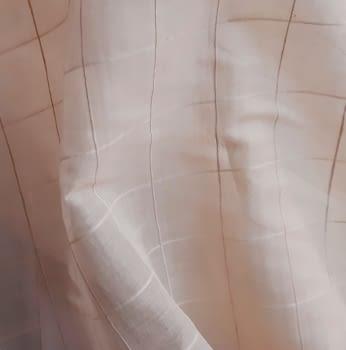 Tela visillo cuadros salmón - 4
