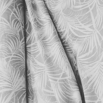 Tela loneta hojas gris 280