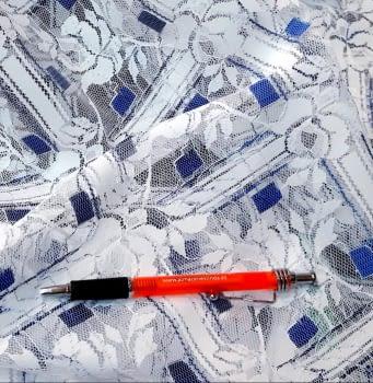 Tela encaje flores azules - 1