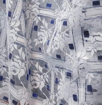Tela encaje flores azules - 5