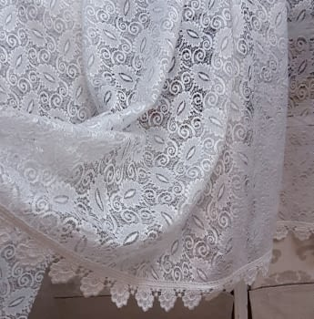 Tela encaje blanco hojas - 3