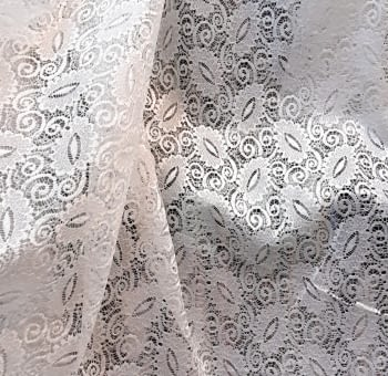 Tela encaje blanco hojas - 4
