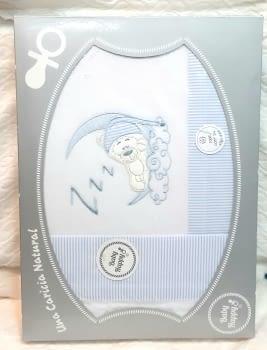 Sábanas franela cuna azul - 2