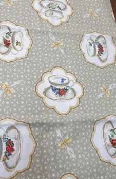Mantelería tazas beeige 150 x 150 - 3