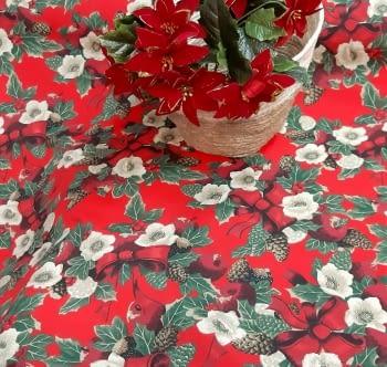 Tela loneta Navidad rojo intenso