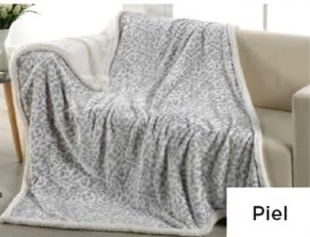Manta sofá leopardo gris