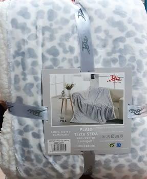 Manta sofá leopardo gris - 1