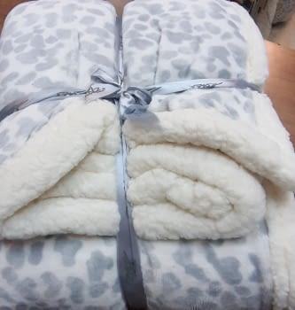 Manta sofá leopardo gris - 2