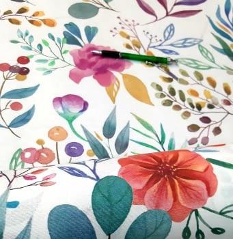 Tela antimanchas flores