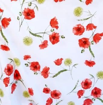 Tela loneta flores amapolas rojas 280