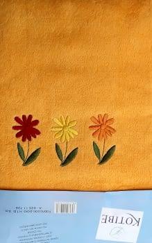 Juego de toallas naranja flores