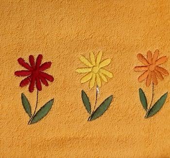 Juego de toallas naranja flores - 1