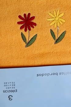 Juego de toallas naranja flores - 2