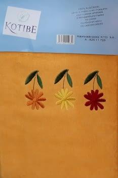 Juego de toallas naranja flores - 3