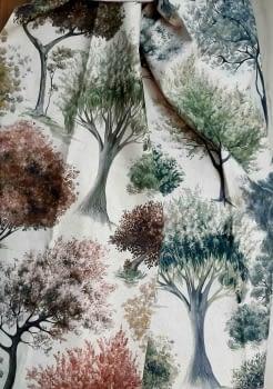 Tela árboles impresión digital