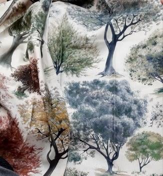 Tela árboles impresión digital - 1