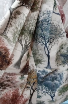 Tela árboles impresión digital - 2