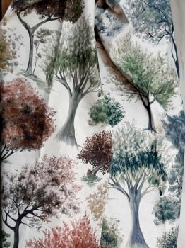 Tela árboles impresión digital - 3