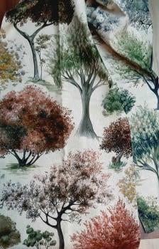 Tela árboles impresión digital - 6