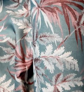 Tela palmeras azul rosa - 2