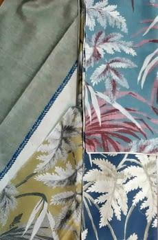 Tela palmeras azul rosa - 7