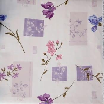 Tela Loneta flores con cuadros lilas